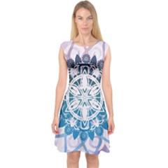 Mandalas Symmetry Meditation Round Capsleeve Midi Dress