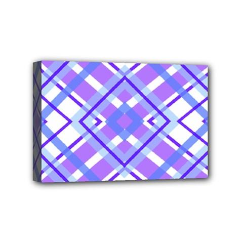 Geometric Plaid Pale Purple Blue Mini Canvas 6  X 4