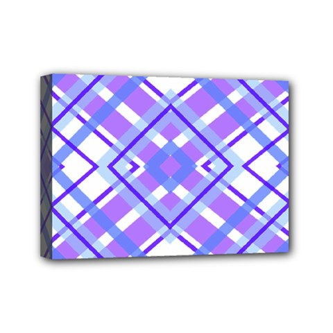 Geometric Plaid Pale Purple Blue Mini Canvas 7  X 5