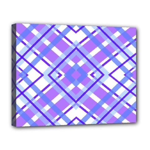 Geometric Plaid Pale Purple Blue Canvas 14  X 11