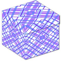 Geometric Plaid Pale Purple Blue Storage Stool 12