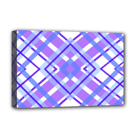 Geometric Plaid Pale Purple Blue Deluxe Canvas 18  X 12