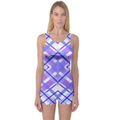 Geometric Plaid Pale Purple Blue One Piece Boyleg Swimsuit