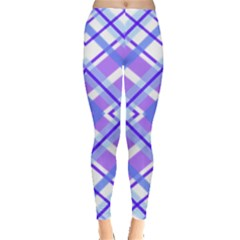 Geometric Plaid Pale Purple Blue Leggings