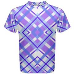 Geometric Plaid Pale Purple Blue Men s Cotton Tee