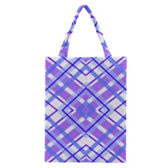 Geometric Plaid Pale Purple Blue Classic Tote Bag