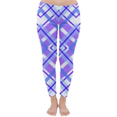 Geometric Plaid Pale Purple Blue Classic Winter Leggings