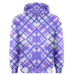 Geometric Plaid Pale Purple Blue Men s Zipper Hoodie