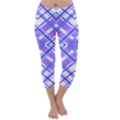 Geometric Plaid Pale Purple Blue Capri Winter Leggings