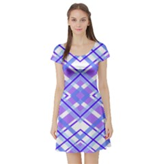 Geometric Plaid Pale Purple Blue Short Sleeve Skater Dress