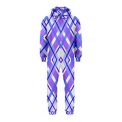 Geometric Plaid Pale Purple Blue Hooded Jumpsuit (kids)