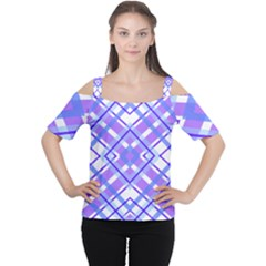 Geometric Plaid Pale Purple Blue Women s Cutout Shoulder Tee