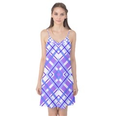 Geometric Plaid Pale Purple Blue Camis Nightgown