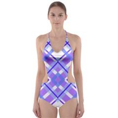 Geometric Plaid Pale Purple Blue Cut-Out One Piece Swimsuit