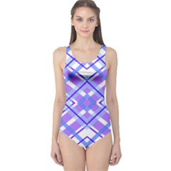 Geometric Plaid Pale Purple Blue One Piece Swimsuit