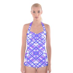 Geometric Plaid Pale Purple Blue Boyleg Halter Swimsuit