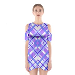 Geometric Plaid Pale Purple Blue Shoulder Cutout One Piece