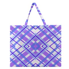 Geometric Plaid Pale Purple Blue Zipper Large Tote Bag