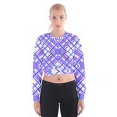 Geometric Plaid Pale Purple Blue Women s Cropped Sweatshirt