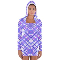 Geometric Plaid Pale Purple Blue Women s Long Sleeve Hooded T Shirt