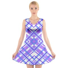 Geometric Plaid Pale Purple Blue V Neck Sleeveless Skater Dress