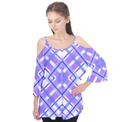 Geometric Plaid Pale Purple Blue Flutter Tees