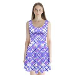 Geometric Plaid Pale Purple Blue Split Back Mini Dress