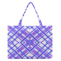 Geometric Plaid Pale Purple Blue Medium Zipper Tote Bag