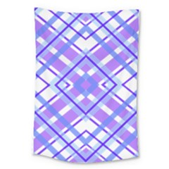 Geometric Plaid Pale Purple Blue Large Tapestry