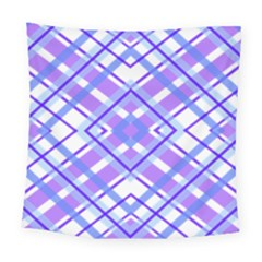 Geometric Plaid Pale Purple Blue Square Tapestry (large)