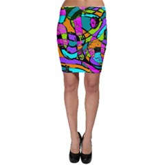 Abstract Art Squiggly Loops Multicolored Bodycon Skirt