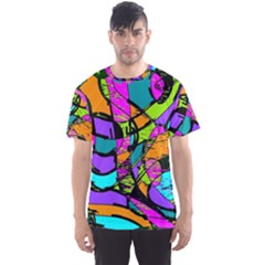 Abstract Art Squiggly Loops Multicolored Men s Sport Mesh Tee