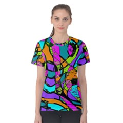 Abstract Art Squiggly Loops Multicolored Women s Cotton Tee