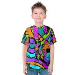 Abstract Art Squiggly Loops Multicolored Kids  Cotton Tee