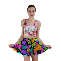Abstract Art Squiggly Loops Multicolored Mini Skirt