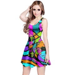 Abstract Art Squiggly Loops Multicolored Reversible Sleeveless Dress
