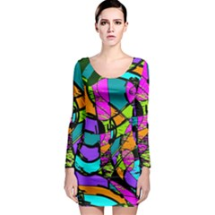 Abstract Art Squiggly Loops Multicolored Long Sleeve Bodycon Dress
