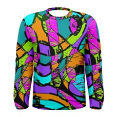 Abstract Art Squiggly Loops Multicolored Men s Long Sleeve Tee