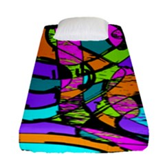 Abstract Art Squiggly Loops Multicolored Fitted Sheet (single Size)