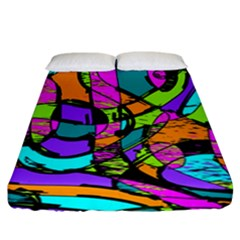 Abstract Art Squiggly Loops Multicolored Fitted Sheet (california King Size)