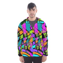 Abstract Art Squiggly Loops Multicolored Hooded Wind Breaker (men)