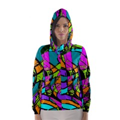 Abstract Art Squiggly Loops Multicolored Hooded Wind Breaker (women)