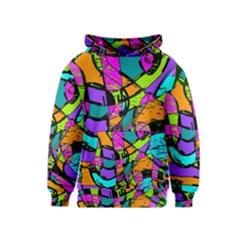 Abstract Art Squiggly Loops Multicolored Kids  Pullover Hoodie