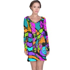 Abstract Art Squiggly Loops Multicolored Long Sleeve Nightdress