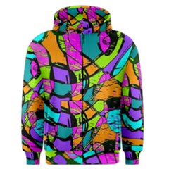 Abstract Art Squiggly Loops Multicolored Men s Zipper Hoodie