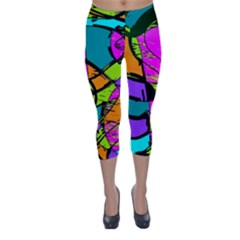 Abstract Art Squiggly Loops Multicolored Capri Winter Leggings