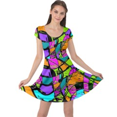 Abstract Art Squiggly Loops Multicolored Cap Sleeve Dresses