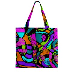 Abstract Art Squiggly Loops Multicolored Zipper Grocery Tote Bag