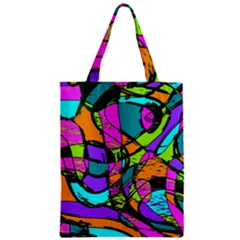 Abstract Art Squiggly Loops Multicolored Zipper Classic Tote Bag