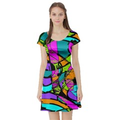 Abstract Art Squiggly Loops Multicolored Short Sleeve Skater Dress